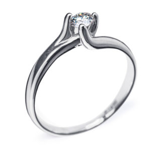 Zara витончена каблучка з білого золота з діамантом R0089