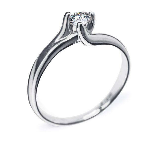 Zara витончена каблучка з білого золота з діамантом R0089 - Фото 1