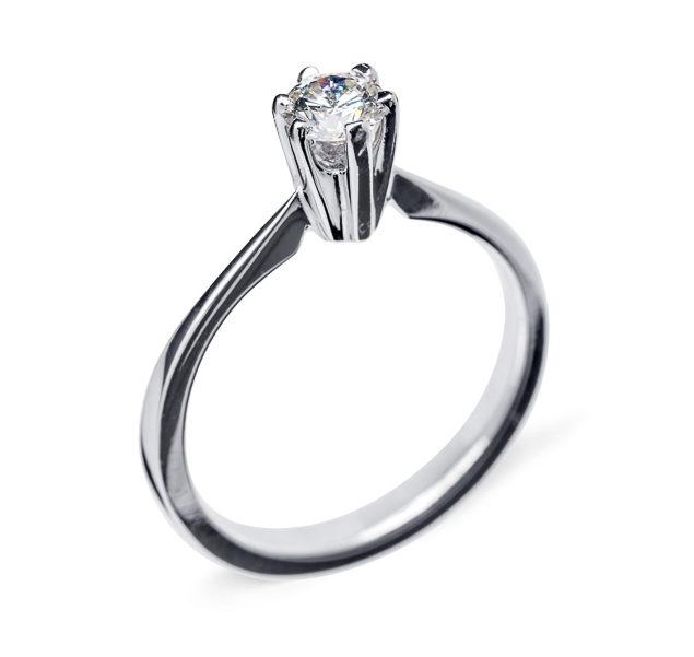 Grace каблучка для заручин з білого золота з діамантом R0462 - Фото 1