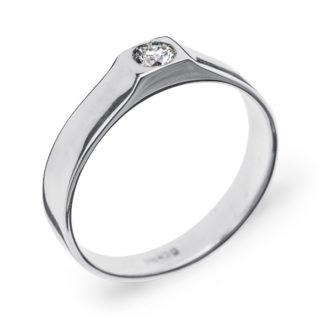 Sonam стильна каблучка з білого золота з діамантом R0647