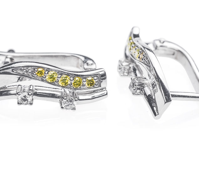 Delight сережки з білого золота з діамантом E0381 - Фото 1