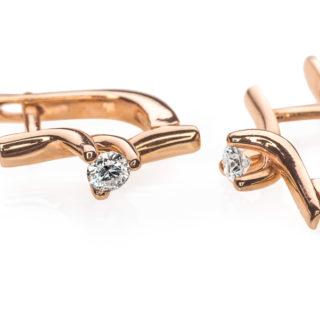 Miram сережки з червоного золота з діамантом E0594