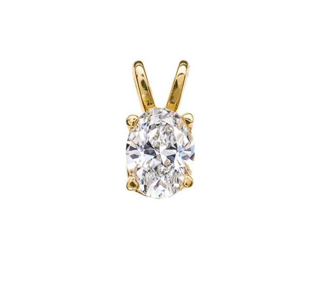 Ursula шикарна підвіска з овальним діамантом P0537 - Фото 1