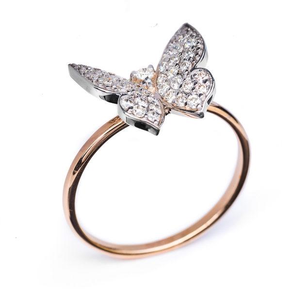 Aries каблучка з діамантами у формі метелика R0292 - Фото 1