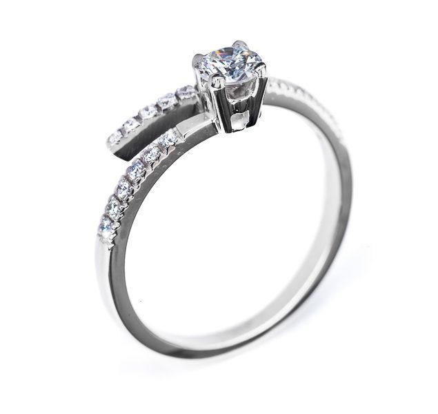 Columba витончена каблучка з діамантами R0585 - Фото 1