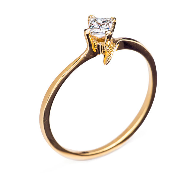 Gloria каблучка з жовтого золота з діамантом R0559 - Фото 1