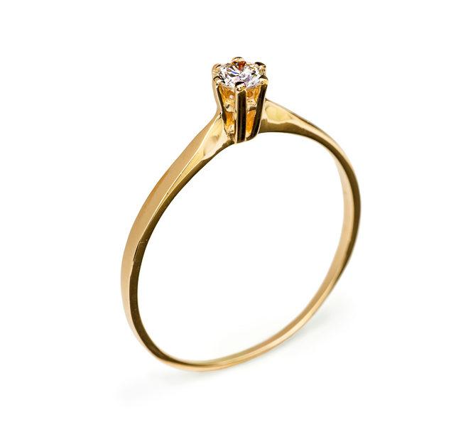 Sarah каблучка з червоного золота з діамантом R0567 - Фото 1