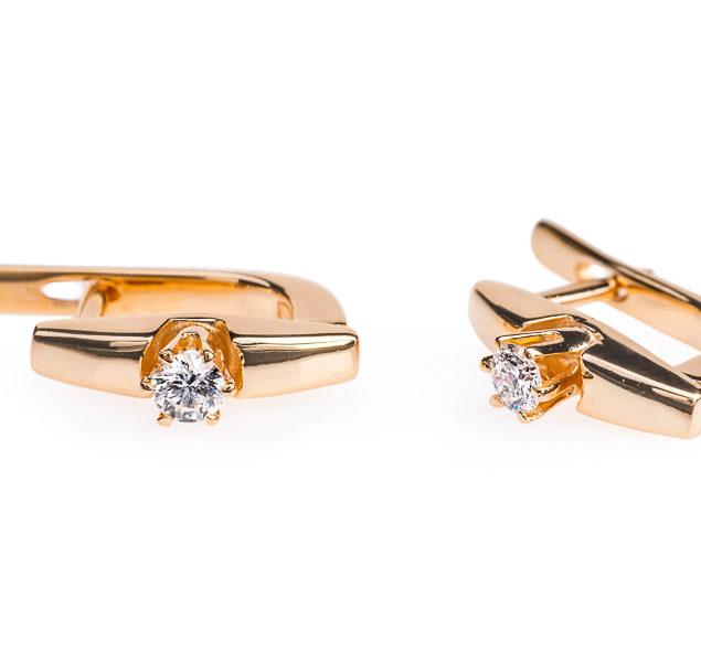 Grus сережки з червоного золота з діамантами E0471-3 - Фото 1