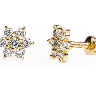 Alcor пусети з жовтого золота з діамантами E0326