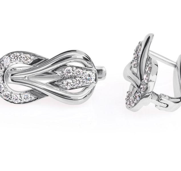 Cassiopeia сережки з білого золота з діамантами E0314 - Фото 1