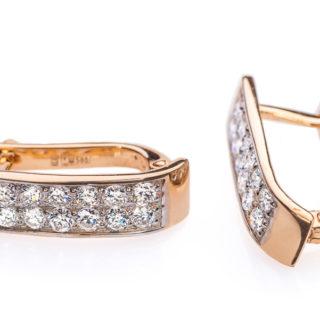 Circinus золоті сережки з обсипанням з діамантів E0297