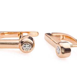 Portia сережки з червоного золота з діамантом E0411