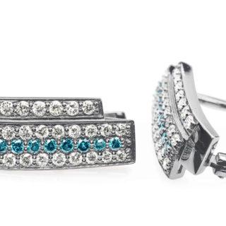 Розкішні золоті сережки з діамантами Turquoise E0308