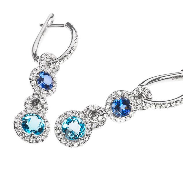 Золоті сережки з сапфірами та діамантами Brandeis E-037s - Фото 1