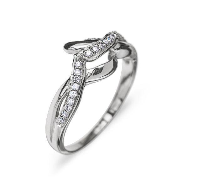 Aquarius витончена каблучка з білого золота з діамантами R0246 - Фото 1