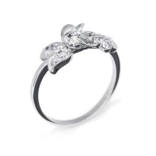 Libra ніжна каблучка з білого золота з діамантами R0016