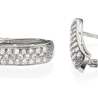 Золоті сережки з яскравими діамантами Mensa E0298
