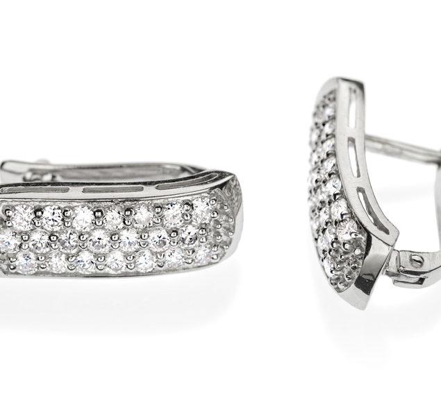 Золоті сережки з яскравими діамантами Mensa E0298 - Фото 1