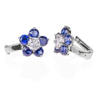 Indigo сережки з діамантами і сапфірами E0433