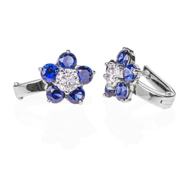 Indigo сережки з діамантами і сапфірами E0433 - Фото 1