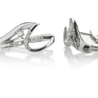 Crux сережки з білого золота з діамантами E0440