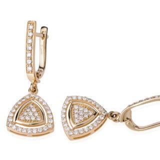 Сережки з жовтого золота з діамантами Potina E0492П