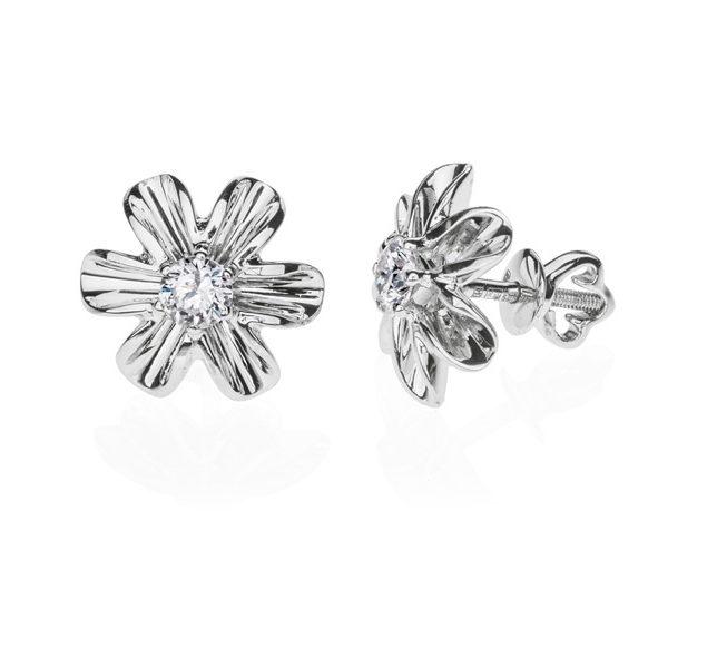 Giedi пусети в формі квітів з діамантами E0526 - Фото 1