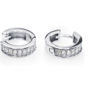 Pictor золоті сережки-конго з діамантовою обсипкою E0548
