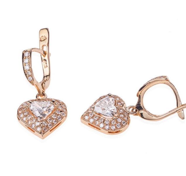 Сережки з діамантами у формі серця Selene E-055x - Фото 1