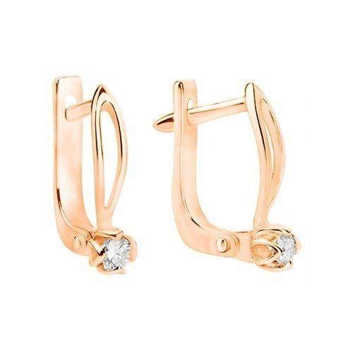 Сережки з діамантиками на англійському замку E0696 - Фото 1