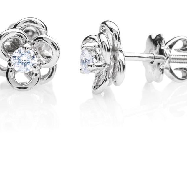 Ancha золоті сережки гвоздики з діамантами E0661 - Фото 1