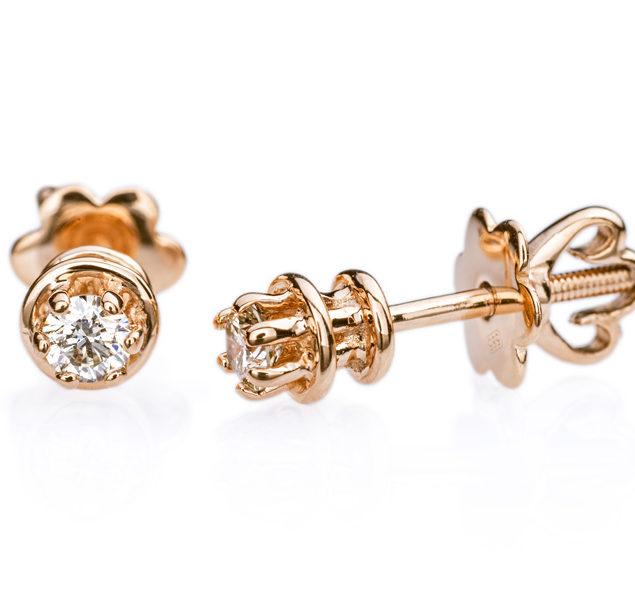 Heka сережки гвоздики з діамантами E0681 - Фото 1