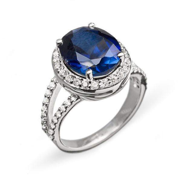 RoyalBlue каблучка з сапфіром і діамантами R0599 - Фото 1
