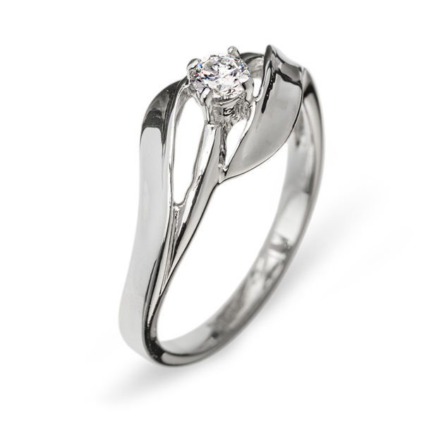 Alhena каблучка з білого золота з діамантом R0002 - Фото 1