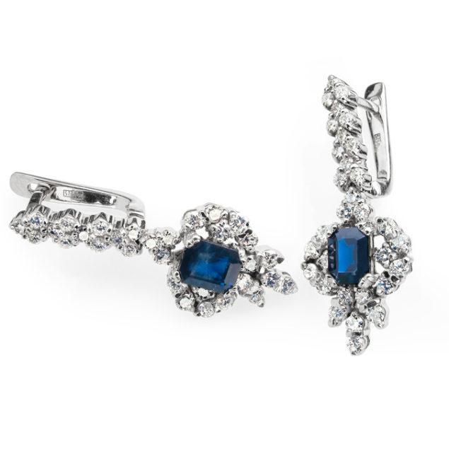 Золоті сережки з діамантами та сапфірами Periwinkle E-542c - Фото 1