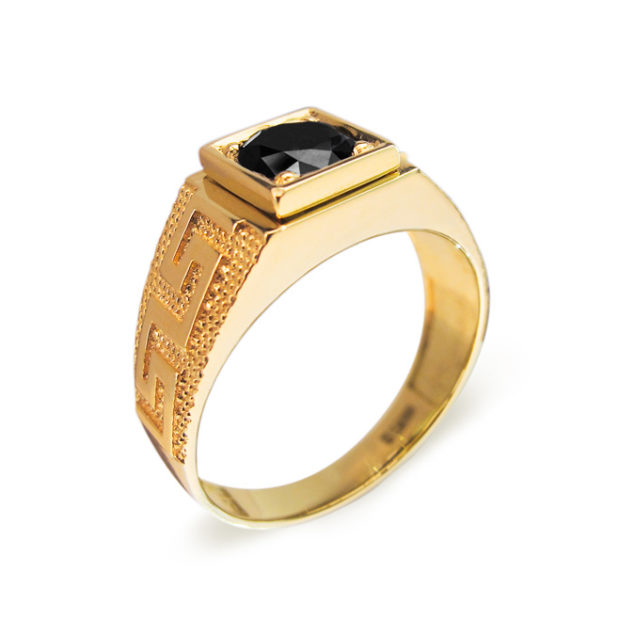 Glee золота каблучка з чорним діамантом R0563 - Фото 1