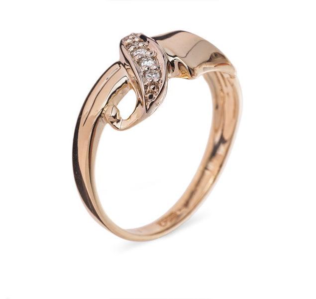 Nashira каблучка з червоного золота з діамантами R-519 - Фото 1