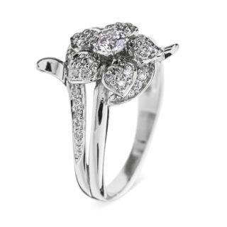 Kari каблучка з білого золота з діамантом R0076