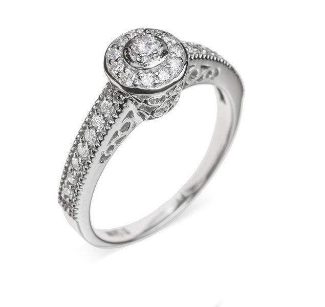 Belinda ажурна каблучка з діамантом R0120 - Фото 1