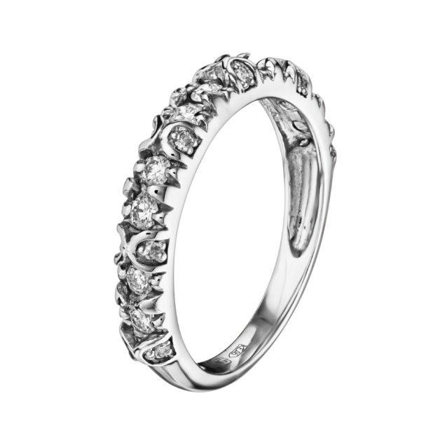 Aquila каблучка з діамантами з білого золота R0122 - Фото 1