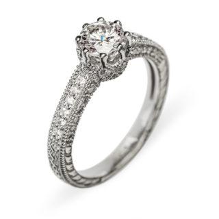 Leda каблучка з білого золота з діамантами R0153
