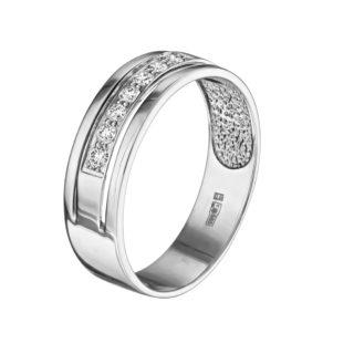 Vela каблучка з білого золота з діамантовою обсипкою R0299