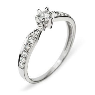 Каблучка з діамантами з білого золота R0320