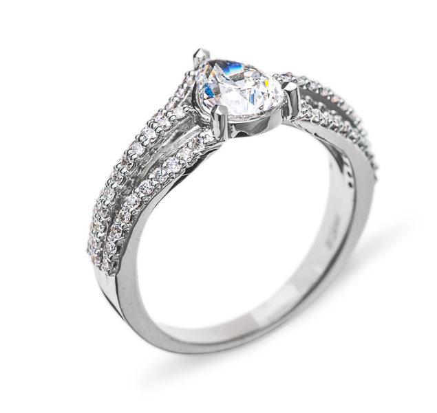 Ophelia каблучка з грушоподібним діамантом R0431 - Фото 1