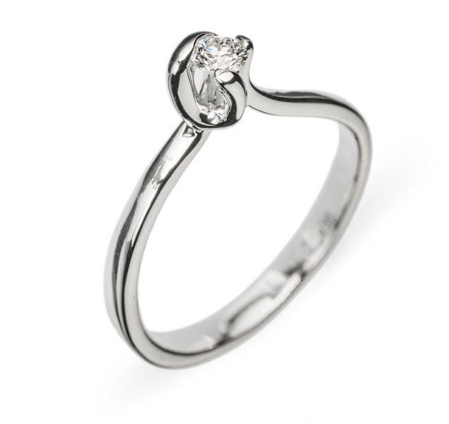 Haya каблучка з білого золота з діамантом R0667 - Фото 1