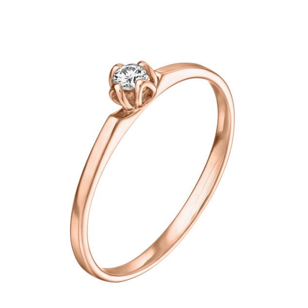 Clotilde каблучка для заручин  з діамантом R0696 - Фото 1