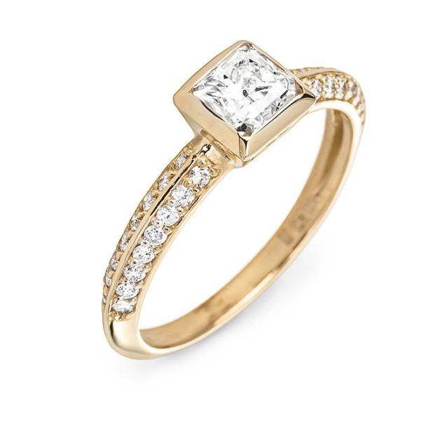 Каблучка з діамантом огранювання принцеса Enapa R0924 - Фото 1