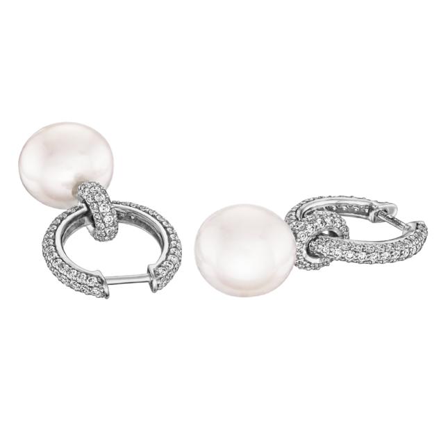 Діамантові сережки з перлинами E0996 - Фото 1