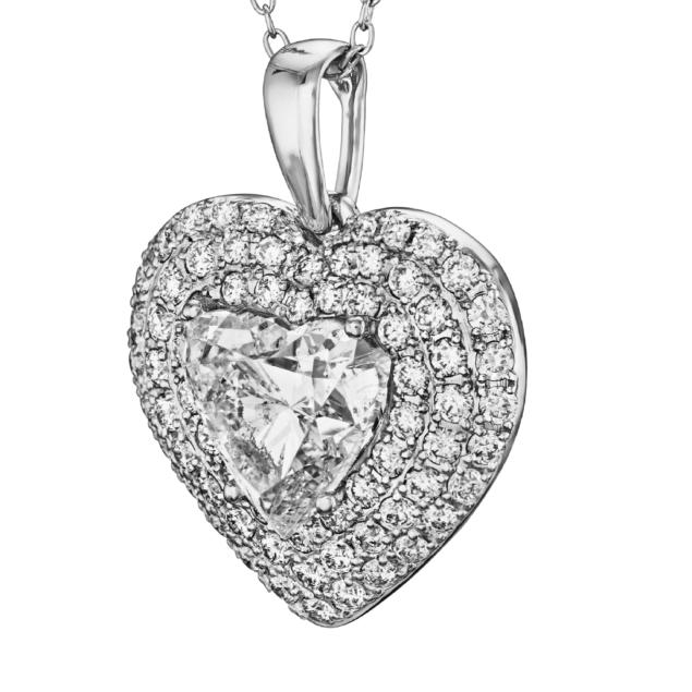 Кулон з великим діамантом P0995 - Фото 1